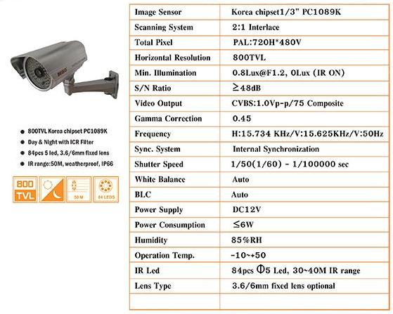กล้องวงจรปิด 800C Series รุ่น BK-385HC