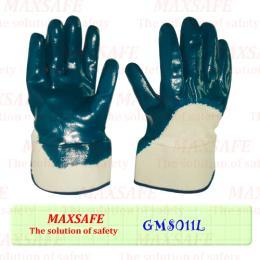 ถุงมือผ้าเคลือบยางไนไตรขอบนิรภัย