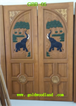ประตูไม้สัก บานคู่ ลาย GBB-05