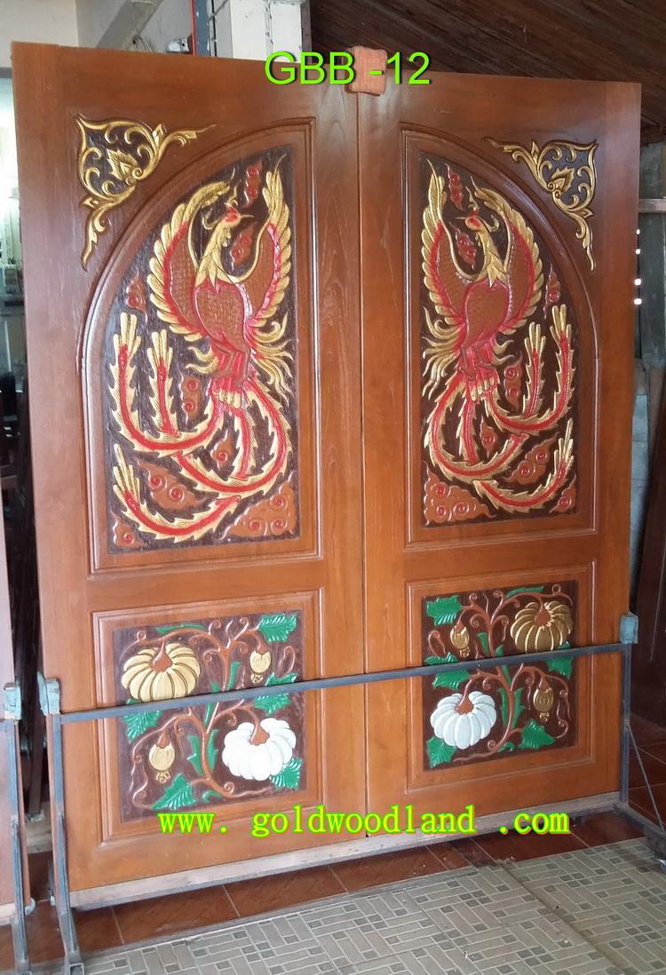 ประตูไม้สัก บานคู่ ลาย GBB-12