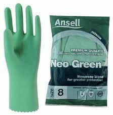ถุงมือยางผสมนิโอพริน แบบมีซับใน รุ่น Neo Green