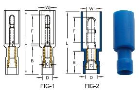 หางปลาเสียบกลมตัวผู้หุ้มเต็ม nylon-fully insulated double crimp bullet disconnectors