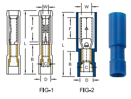 หางปลาหัวเสียบตัวเมียแบบกลม nylon-fully insulated double  crimp receptacle disconnectors