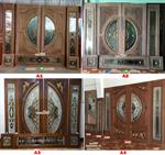 ประตู ไม้สัก ประตูไม้สัก กระจกนิรภัย ร้านวรกานต์ค้าไม้ door-woodhome.com