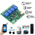 Lonten DC5V 4 Channel 10A Relay WiFi Wireless Delay Relay 4Way Module APP Remote Control