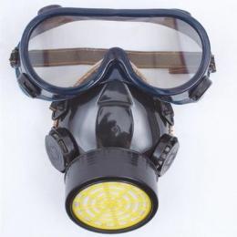 หน้ากากป้องกันควันพิษ พร้อมแว่นตากันควันเข้าตา ชนิดท่อเดี่ยว