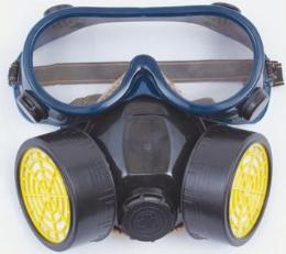หน้ากากป้องกันควันพิษ พร้อมแว่นตากันควันเข้าตา ชนิดท่อคู่