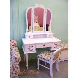 โต๊ะเครื่องแป้ง สีขาว สไตล์วินเทจ