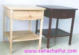 โต๊ะข้างหัวเตียงไม้ยางพาราแท้