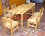 โต๊ะกลุ่มนักเรียนอนุบาลไม้ยางพาราทั้งชุด