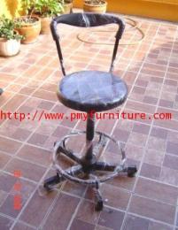 เก้าอี้บาร์กลมปรับระดับมีพนักพิง