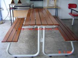 โต๊ะอาหาร+เอนกประสงค์ ไม้เต็งระแนง โครงเหล็ก