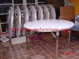 โต๊ะกลมแบบพับเก็บได้ หน้าโฟเมก้าขาวแบบตัน
