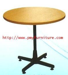 โต๊ะกลมขา 4 แฉกสีดำผิวเมลามีน