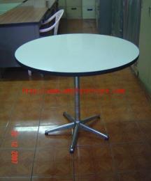 โต๊ะกลมขา 5 แฉกสีดำหน้าโฟเมก้าขาว