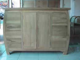ชั้นวางทีวีไม้สัก แบบ 6 ลิ้นชัก 2 บานประตู ทรงอึ่งอ่าง