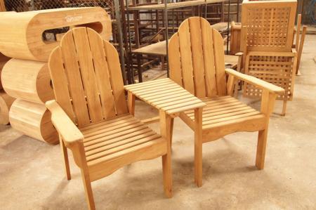 เก้าอี้สนามไม้สัก สองตัวติดกัน