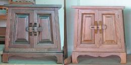 ตู้หัวเตียงไม้สัก 2 บานประตู ทรงเอ