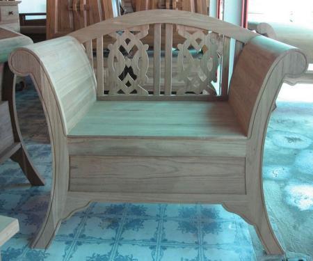 เก้าอี้แหย่งช้างไม้สัก พนักพิงหลังฉลุลาย