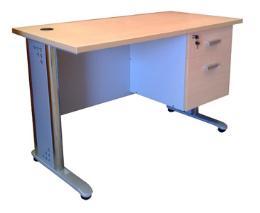 โต๊ะทำงานขาเหล็กโครเมี่ยม ขนาด 1.50 ม + ลิ้นชัก