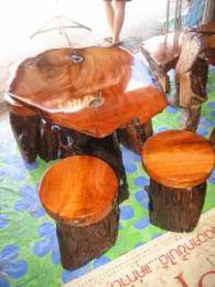 โต๊ะชุดรากไม้สัก เก้าอี้ 4 ตัว