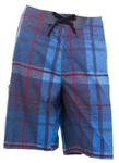 กางเกงชายหาดขาสั้น สีฟ้าลายตาราง