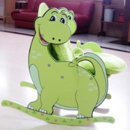 เก้าอี้ไม้โยกลากไดโนเสาร์พร้อมเบาะ
