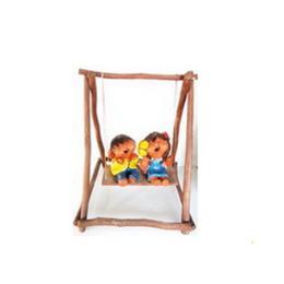 ตุ๊กตาดินเผาละอ่อนคู่ชายหญิงนั่งจู้งจา ตกแต่งสี (SCD001)