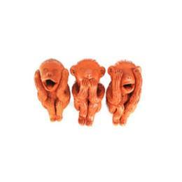 ตุ๊กตาดินเผาลิงปิดตาปิดหูปิดปาก (SPD024)