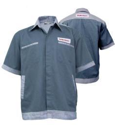 เสื้อฟอร์มพนักงานผ้า Com T-will สีเทาเข้ม ตัดต่อกระเป๋า