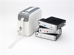 เครื่องพิมพ์บาร์โค้ด HC100 direct thermal printer with easy-to-load cartridges containing the indust