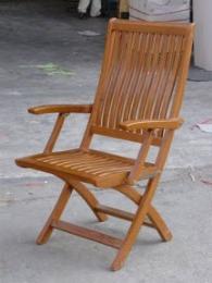 เก้าอี้ไม้พับสนามระแนง มีท้าวแขน  ไม้สัก