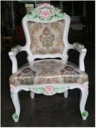 เก้าอี้โซฟาหลุยส์ ไม้สัก 1 ที่นั่ง