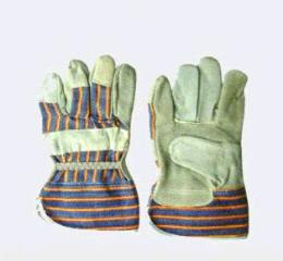 ถุงมือหนังท้อง ขอบผ้าลาย LEATHER GLOVE