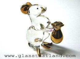 ตุ๊กตาแก้ว หนูถือถุงทอง  010012