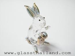ตุ๊กตาแก้ว กระต่ายถือถุงทอง 04002