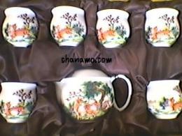 ชุดน้ำชา-ชุดชงชา-กาน้ำชา ชุดกาเนื้อขาว-พิมพ์ลายสวยงาม พร้อมถ้วย