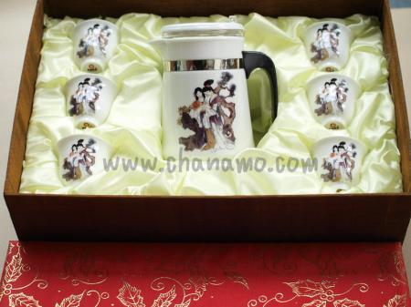 ชุดน้ำชา-ชุดชงชา-กาน้ำชา ชุดนางฟ้า ถ้วย 6 ใบ