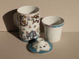 แก้วชงชา-ถ้วยน้ำชา แก้วชงชาแยกกาก ( 3 ชิ้น ) คละลาย
