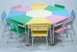 โต๊ะเก้าอี้กิจกรรมกลุ่ม 8 เหลี่ยม 8 ที่นั่ง ระดับ ประถม