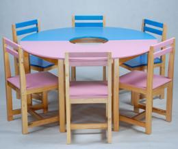 โต๊ะเก้าอี้กิจกรรมกลุ่ม กลม 6 ที่นั่ง ระดับ มัธยม