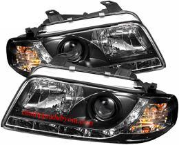 ไฟหน้ารถยนต์ AUDI A4 95-00 ดำ มุมติด LED ยาว