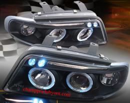 ไฟหน้ารถยนต์ AUDI A4 95-00 ดำ มุมติด วงแหวน V.2