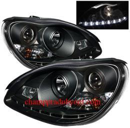 ไฟหน้ารถยนต์ BENZ S-CLASS W220 98-05 ดำ LED ยาว