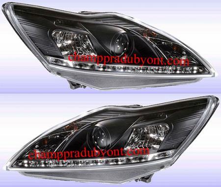 ไฟหน้ารถยนต์ FORD FOCUS 09-12 ดำ LED ยาว