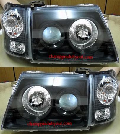 ไฟหน้ารถยนต์ TOYOTA TIGER D4D 00-04 ดำ พร้อมมุมดำ