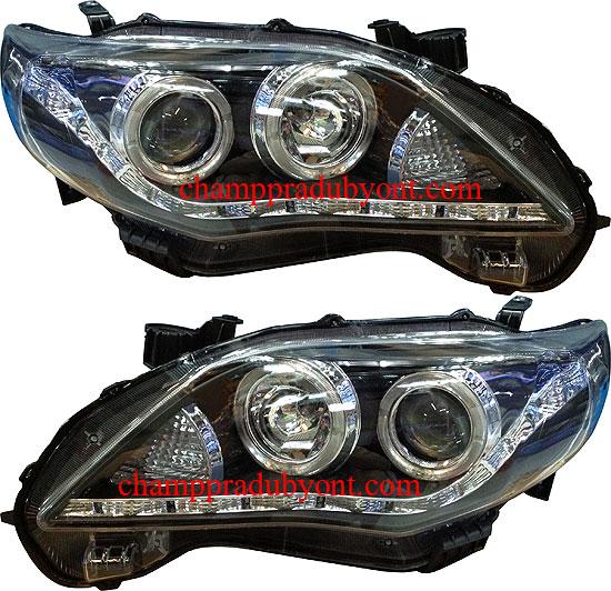 ไฟหน้ารถยนต์  TOYOTA ALTIS 10-13 ดำ วงแหวน LED ยาว