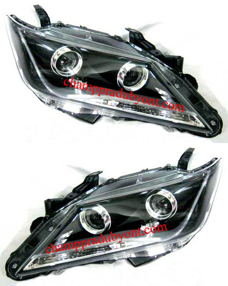 ไฟหน้ารถยนต์  TOYOTA CAMRY 12-13 ดำ วงแหวน LED ยาว
