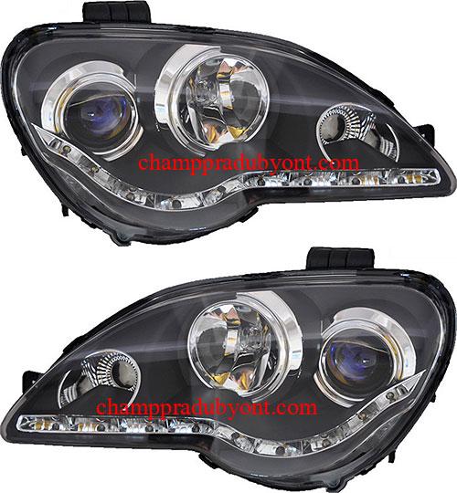 ไฟหน้ารถยนต์  PROTON GEN2 / PERSONA 08-11 ดำ LED ยาว
