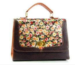 กระเป๋าทรงกล่อง รหัส YB-9943-2 สีน้ำตาลเข้ม